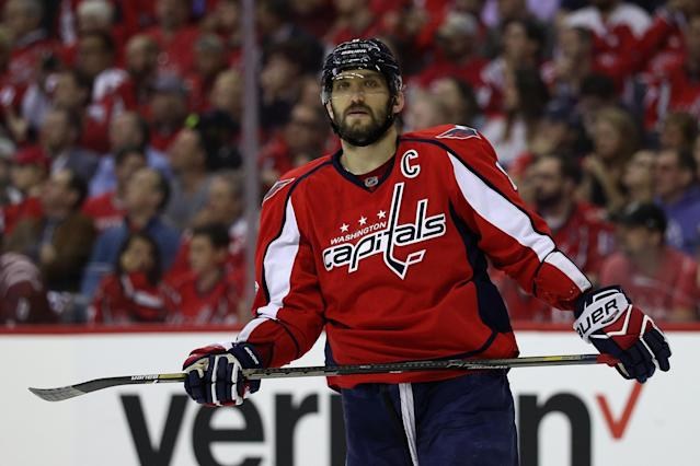"Spend up for stars like <a class=""link rapid-noclick-resp"" href=""/nhl/players/3637/"" data-ylk=""slk:Alex Ovechkin"">Alex Ovechkin</a> while you can instead of trying to save a dollar or two. (Photo by Patrick Smith/Getty Images)"