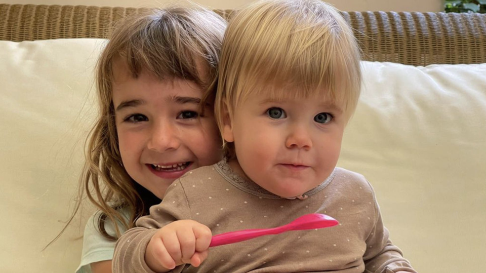 Olivia Zimmermann, 6, pictured with her sister, one-year-old Anna.