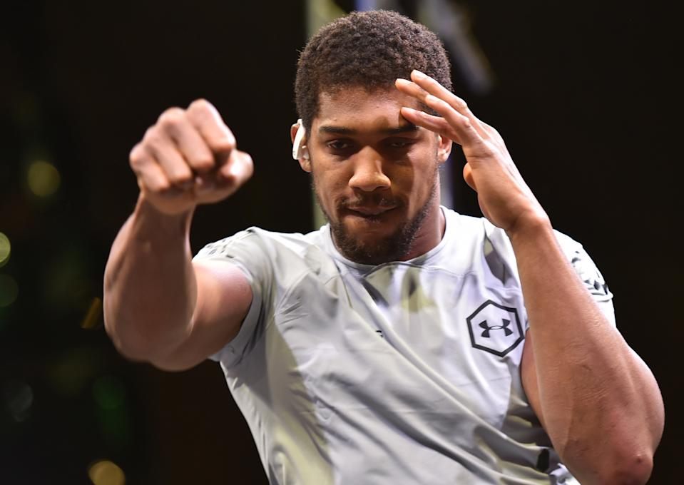 "British heavyweight boxing challenger Anthony Joshua works out at Digital City in the Saudi capital Riyadh on December 3, 2019, ahead of the upcoming ""Clash on the Dunes"". - The hotly-anticipated rematch between Joshua and Mexican-American heavyweight boxing champion Andy Ruiz Jr is scheduled to take place in Diriya, near the Saudi capital on December 7. (Photo by Fayez Nureldine / AFP) (Photo by FAYEZ NURELDINE/AFP via Getty Images)"