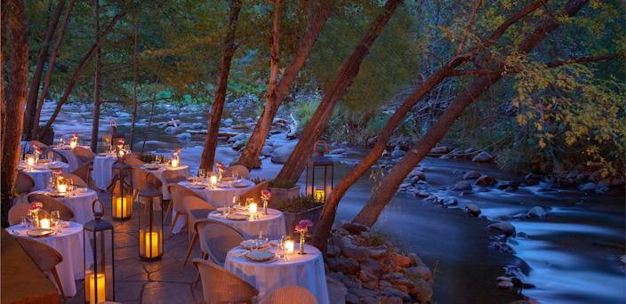 Creekside dining at L'Auberge de Sedona, in the heart of the Red Rock Region.