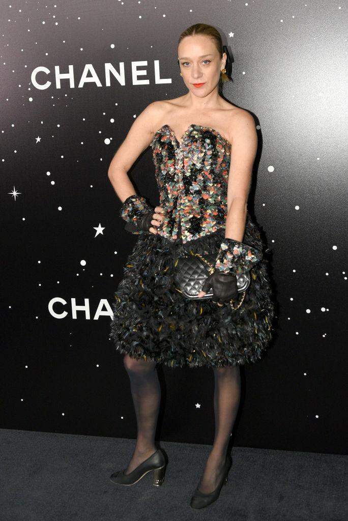 <p>Actress Chloë Sevigny made her latest red carpet event memorable in a corset-style dress by Chanel for the Museum Of Modern Art event. <em>[Photo: Getty]</em> </p>