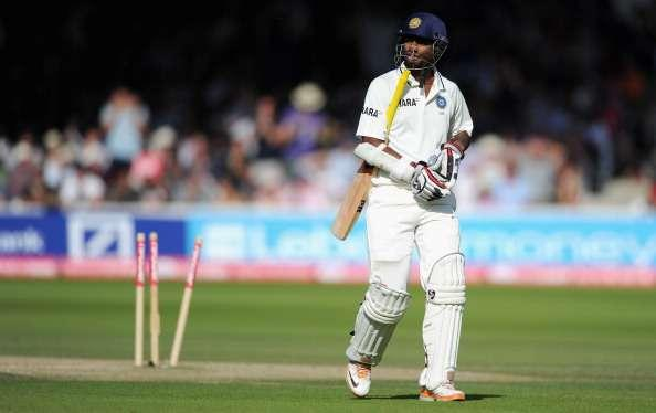 LONDON, ENGLAND - JULY 24: Abhinav Mukund of India leaves the field after being bowled by Stuart Broad of England during day four of the 1st npower test match between England and India at Lord's Cricket Ground on July 24, 2011 in London, England. (Photo by Gareth Copley/Getty Images)