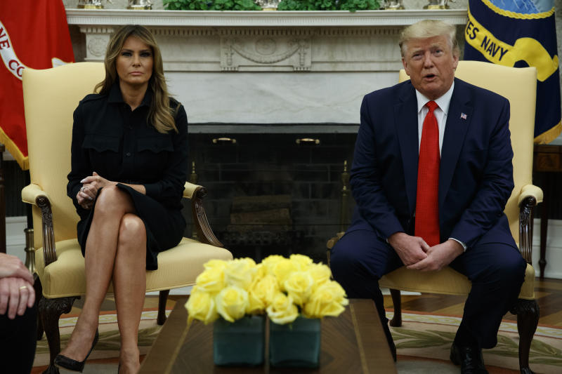 First lady Melania Trump and President Donald Trump in the Oval Office of the White House, Wednesday, Sept. 11, 2019. (AP Photo/Evan Vucci)