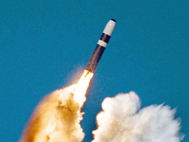 Ohio class submarine Trident II D5 missile launch