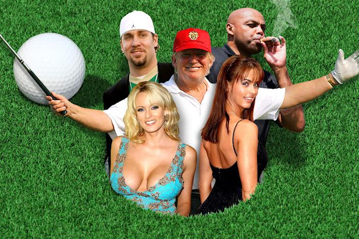 Clockwise from top left: Ben Roethlisberger, Donald Trump, Charles Barkley, Karen McDougal, Stormy Daniels.