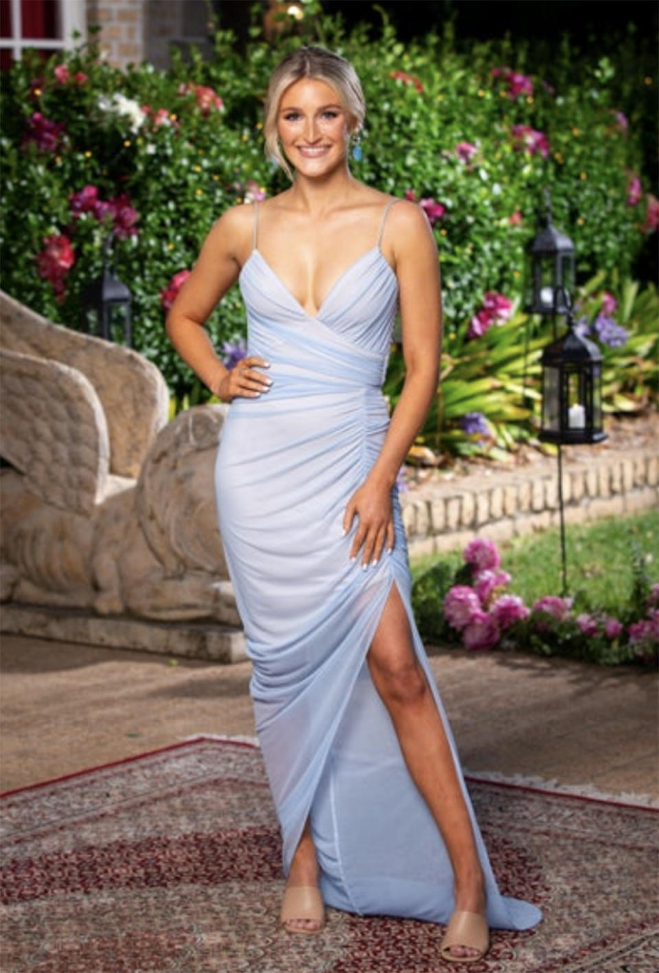 Bachelor star Lily Price wearing the 'Moscow' gown by Nookie at the cocktail party in episode two. Photo: Channel 10.