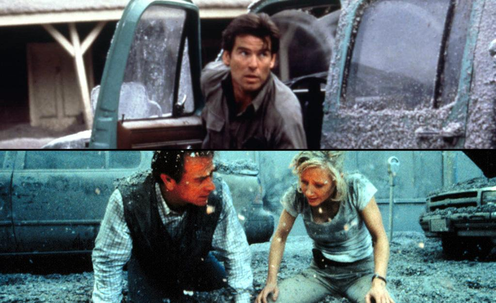 "<a target=""_blank"" href=""http://movies.yahoo.com/movie/dante-s-peak/"">""Dante's Peak""</a> (February 7, 1997)<br><br> <b>Synopsis:</b> USGS volcanologist Harry Dalton travels to the small Pacific Northwest  town of Dante's Peak to investigate recent seismic episodes in the area.  Expecting to find little other than the routine rumblings common to  this region, Dalton becomes alarmed by what he sees as evidence of the  kind of activity that precedes a catastrophic eruption.<br><b>Score on Rotten Tomatoes:</b> 27%<br><b>U.S. box office:</b> $67m<br><br><a target=""_blank"" href=""http://movies.yahoo.com/movie/volcano/"">""Volcano""</a> (April 25, 1997)<br><br> <b>Synopsis:</b> A vent in the earth's crust has unleashed an incredible force of nature.  The literally earth-shattering product: an erupting Volcano... and  ground zero is L.A.'s famed La Brea Tar Pits. An unprepared Los Angeles  is facing its worst nightmare as an endless stream of fiery, deadly lava  insidiously creeps across traffic-choked streets while wreaking havoc  below ground in the labyrinth of man-made natural tunnels.<br><b>Score on Rotten Tomatoes:</b> 44%<br><b>U.S. box office:</b> $50m"