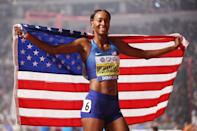 """<p><strong>Sport:</strong> Track and field<br> <strong>Country:</strong> USA</p> <p>Muhammad makes breaking the 400-meter hurdles world record look way too easy. It's a feat she's accomplished twice: once <a href=""""https://www.popsugar.com/fitness/Dalilah-Muhammad-400m-Hurdles-World-Record-Video-46431215"""" class=""""link rapid-noclick-resp"""" rel=""""nofollow noopener"""" target=""""_blank"""" data-ylk=""""slk:at the 2019 USA Track and Field (USATF) National Championships"""">at the 2019 USA Track and Field (USATF) National Championships</a> and then again, later that year, <a href=""""https://www.youtube.com/watch?v=ZAz0GS_4QTY"""" class=""""link rapid-noclick-resp"""" rel=""""nofollow noopener"""" target=""""_blank"""" data-ylk=""""slk:at the world championships"""">at the world championships</a>. Muhammad will also be going into Tokyo as the defending Olympic champion, setting up for a showdown with <a href=""""https://www.popsugar.com/fitness/Sydney-McLaughlin-Pre-Meet-Rituals-46354739"""" class=""""link rapid-noclick-resp"""" rel=""""nofollow noopener"""" target=""""_blank"""" data-ylk=""""slk:Sydney McLaughlin"""">Sydney McLaughlin</a>, the 21-year-old who placed behind her in the world championships and has <a href=""""https://www.nbcsports.com/video/diamond-league-sydney-mclaughlin-edges-dalilah-muhammad-400m-hurdles"""" class=""""link rapid-noclick-resp"""" rel=""""nofollow noopener"""" target=""""_blank"""" data-ylk=""""slk:beaten her in Diamond League races"""">beaten her in Diamond League races</a> in the past. Their showdown and Muhammad's unflappable dominance on the world stage are set to create a riveting race.</p>"""