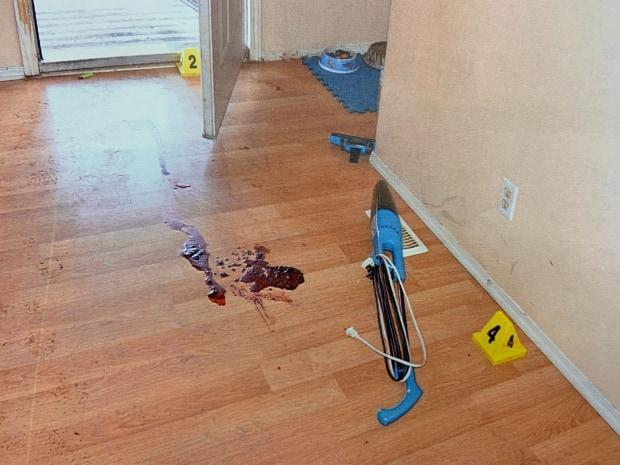 Blood on the floor just inside the front door of the Chipman house where Raymond Nickerson and his wife lived.