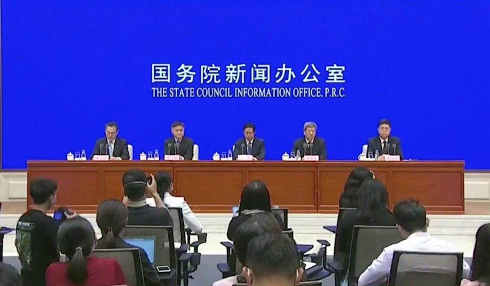 Senior Beijing officials are joined by representatives from across the Greater Bay Area for a rare joint press conference on Thursday. Photo: RTHK