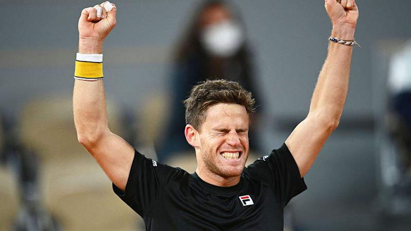 Pictured here, Diego Schwartzman celebrates his epic win against Dominic Thiem.