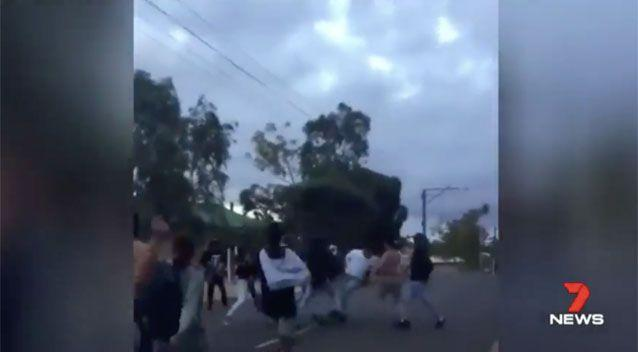 Footage from the Port Augusta brawl. Source: 7 News