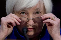 FILE - In this Feb. 14, 2017 file photo Federal Reserve Chair Janet Yellen appears on Capitol Hill in Washington before the Senate Banking Committee. (AP Photo/Andrew Harnik, File)