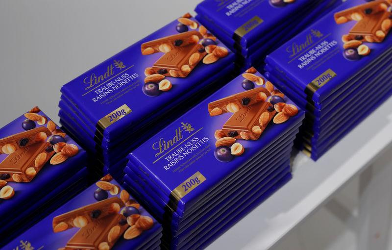 Raisins noisettes chocolates are displayed during the annual news conference of Swiss chocolatier Lindt & Spruengli in Kilchberg