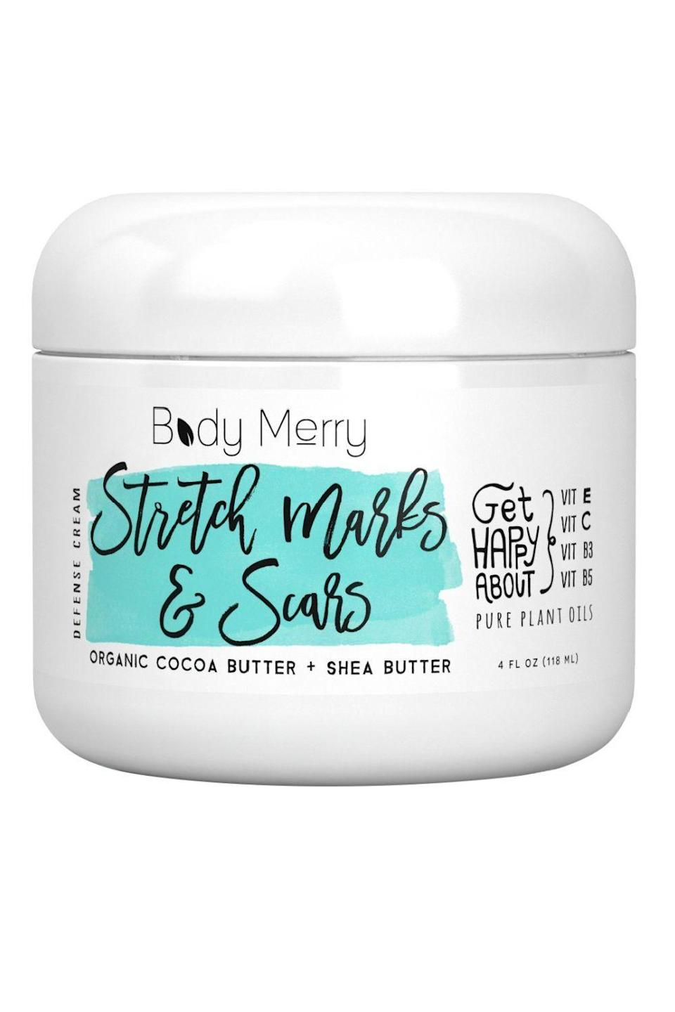 """<p><strong>Body Merry</strong></p><p>amazon.com</p><p><strong>$19.99</strong></p><p><a href=""""https://www.amazon.com/dp/B00OTZ28DE?tag=syn-yahoo-20&ascsubtag=%5Bartid%7C10049.g.23323942%5Bsrc%7Cyahoo-us"""" rel=""""nofollow noopener"""" target=""""_blank"""" data-ylk=""""slk:Shop Now"""" class=""""link rapid-noclick-resp"""">Shop Now</a></p><p>As one of the more affordable options on this list, you'll be happy to know this cream for <a href=""""https://www.cosmopolitan.com/style-beauty/beauty/advice/g3017/how-to-get-rid-of-acne-scars/"""" rel=""""nofollow noopener"""" target=""""_blank"""" data-ylk=""""slk:getting rid of scars"""" class=""""link rapid-noclick-resp"""">getting rid of scars</a> and stretch marks <strong>has more than 4,000 positive Amazon reviews</strong>. Although it might be impossible to remove or prevent stretch marks completely, this blend of cocoa butter, shea butter, vitamin E, <a href=""""https://www.cosmopolitan.com/style-beauty/beauty/g12091058/best-vitamin-c-serum-face-skin/"""" rel=""""nofollow noopener"""" target=""""_blank"""" data-ylk=""""slk:vitamin C"""" class=""""link rapid-noclick-resp"""">vitamin C</a>, vitamin B3 (<a href=""""https://www.cosmopolitan.com/style-beauty/beauty/g28844492/best-niacinamide-serums/"""" rel=""""nofollow noopener"""" target=""""_blank"""" data-ylk=""""slk:niacinamide"""" class=""""link rapid-noclick-resp"""">niacinamide</a>), and vitamin B5 (panthenol) helps to protect and maintain healthy skin.</p>"""