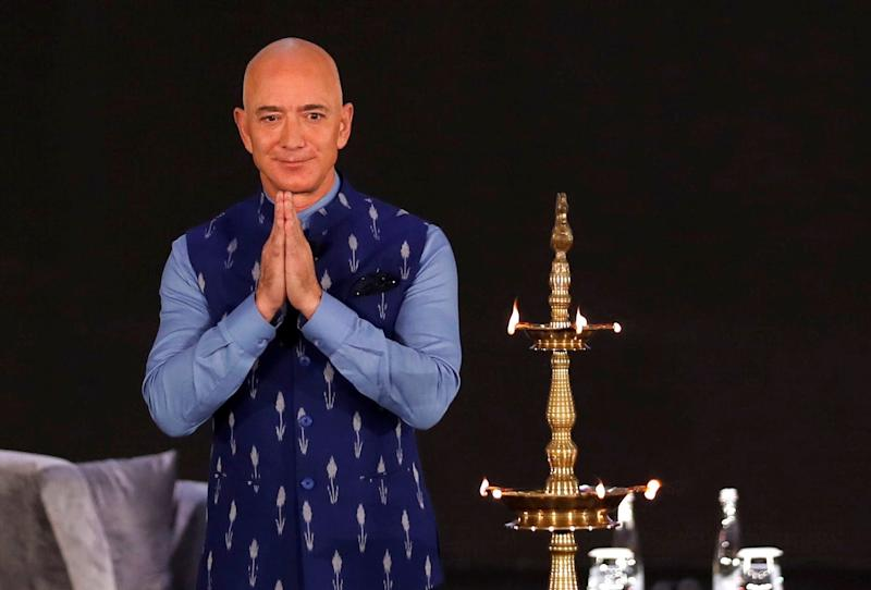 Jeff Bezos, founder of Amazon, attends a company event in Delhi on Wednesday: Reuters