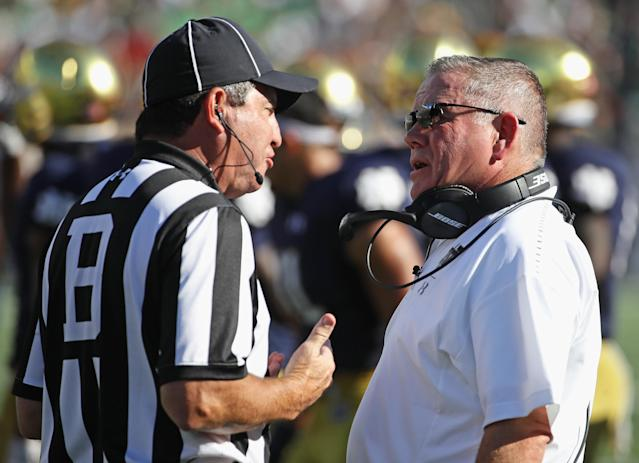Notre Dame's Brian Kelly is unhappy with Vanderbilt's defense going low. (Getty)