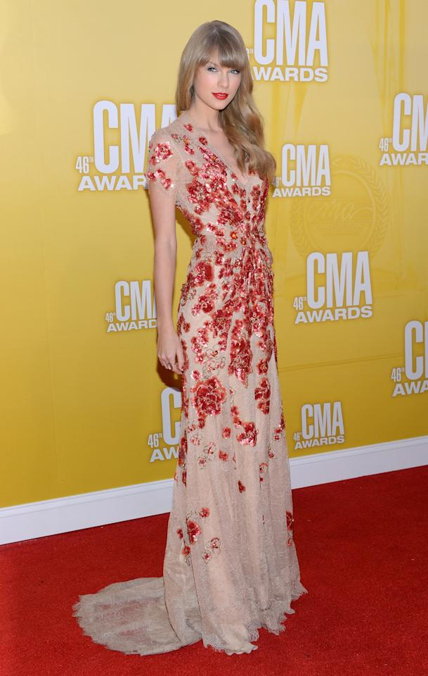 NASHVILLE, TN - NOVEMBER 01:  Taylor Swift attends the 46th annual CMA Awards at the Bridgestone Arena on November 1, 2012 in Nashville, Tennessee.  (Photo by Jason Kempin/Getty Images)