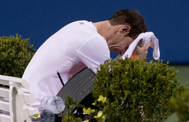 Andy Murray, of Britain, becomes emotional after defeating Marius Copil, of Romania, 6-7(5), 3-6, 7-6(4), during the Citi Open tennis tournament in Washington, Friday, Aug. 3, 2018. (AP Photo/Andrew Harnik)