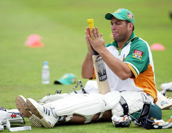 NOTTINGHAM, ENGLAND - AUGUST 12:  Jacques Kallis of South Africa rests after batting in the nets during South Africa nets practice at Trent Bridge on August 12, 2003 in Nottingham, England.  South Africa are training for the third npower Test match against England starting on August 14, 2003. (Photo by Mike Finn-Kelcey/Getty Images)