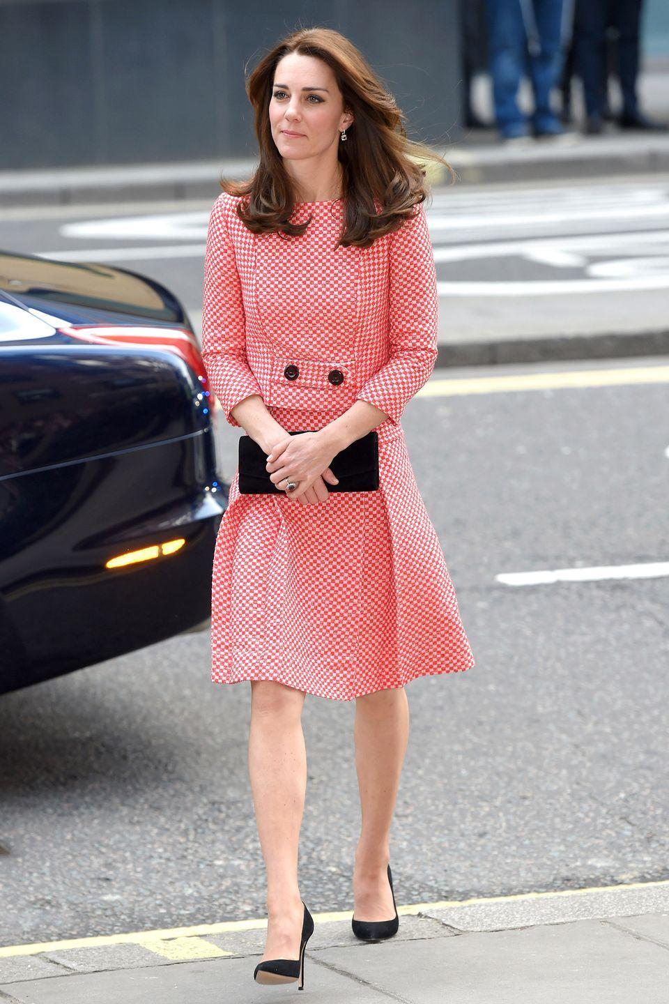 """<p>Middleton made a seamless transition into spring, sporting checkered separates in a bright sherbert hue by little-known British brand Epinone, causing <a href=""""http://fashion.hellomagazine.com/fashion-news/201603114618/kate-middleton-outfit-style-eponine-dress/"""" rel=""""nofollow noopener"""" target=""""_blank"""" data-ylk=""""slk:their site to crash"""" class=""""link rapid-noclick-resp"""">their site to crash</a> after stepping out in the ensemble. The 'Kate effect' strikes again. </p>"""