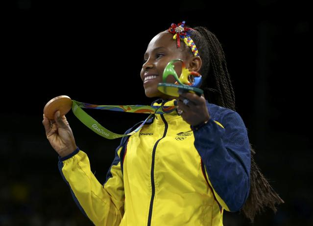 2016 Rio Olympics - Boxing - Victory Ceremony - Women's Fly (51kg) Victory Ceremony - Riocentro - Pavilion 6 - Rio de Janeiro, Brazil - 20/08/2016. Bronze medallist Ingrid Valencia (COL) of Colombia poses with her medal. REUTERS/Peter Cziborra FOR EDITORIAL USE ONLY. NOT FOR SALE FOR MARKETING OR ADVERTISING CAMPAIGNS.