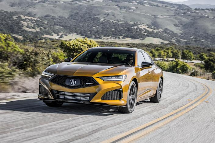 The new 2021 Acura TLX Type S sports sedan in gold. Could this be a starting place for electrification?