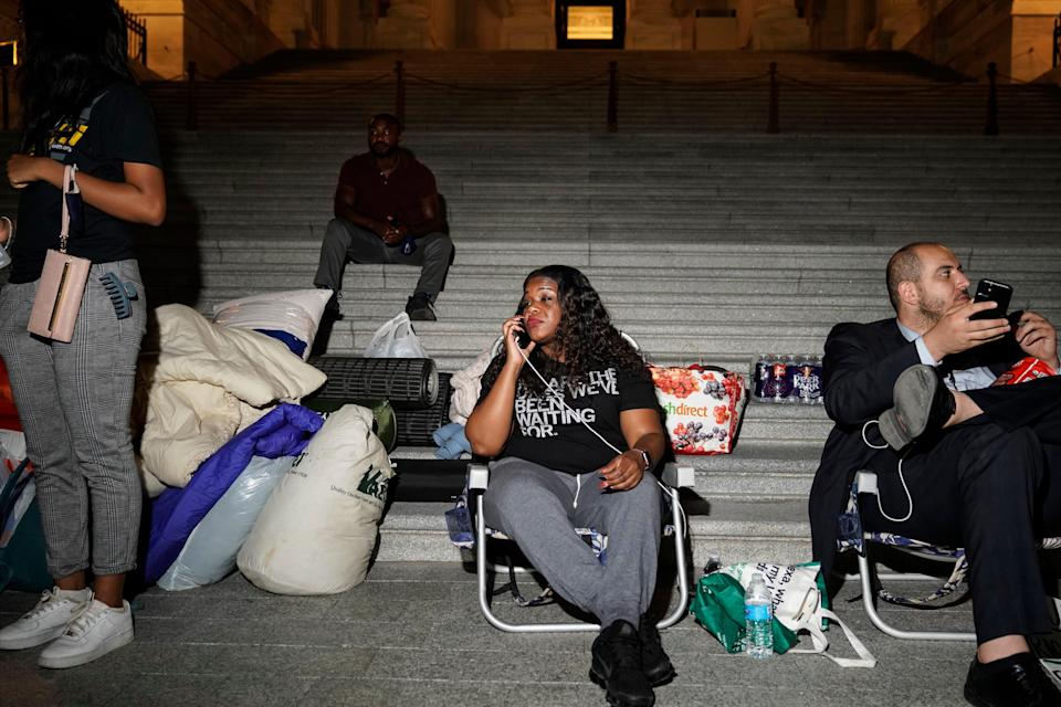 Rep. Cori Bush, D-Mo., spends the night outside the U.S. Capitol on July 31 to call for an extension of the federal eviction moratorium, which helped people stay in their homes during the financial hardships of the coronavirus pandemic.