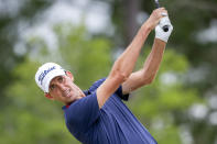 Chesson Hadley watches his drive off the third tee during the final round of the Palmetto Championship golf tournament in Ridgeland, S.C., Sunday, June 13, 2021. (AP Photo/Stephen B. Morton)