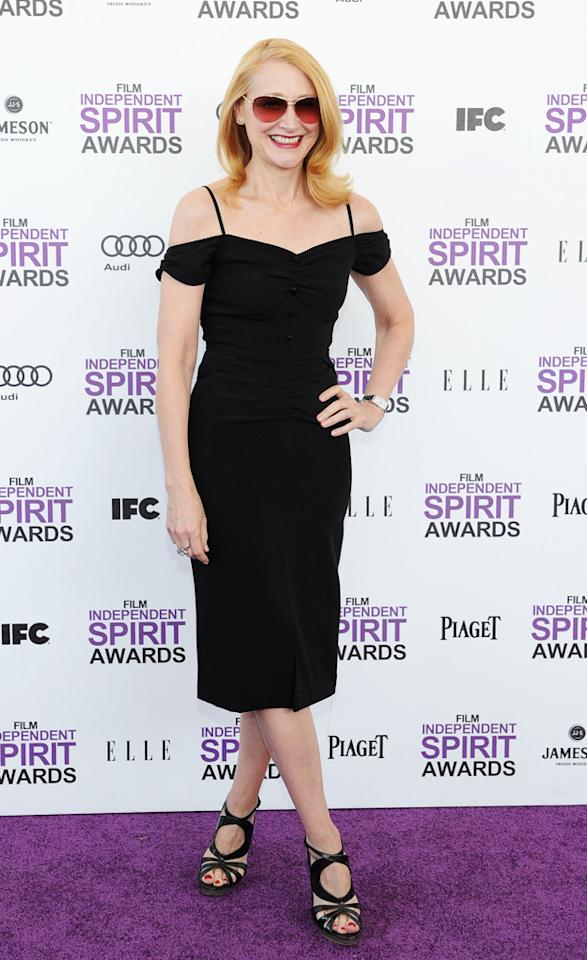 It must have been the sunshine or a rough one last night, as Patricia Clarkson decided to keep her shades on while she walked the carpet in a cute little black dress.