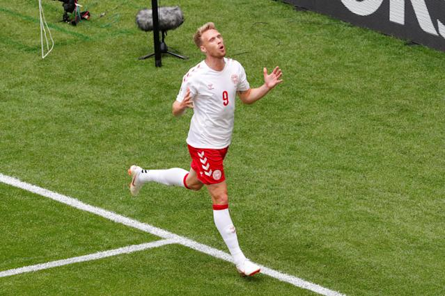 Soccer Football - World Cup - Group C - Denmark vs Australia - Samara Arena, Samara, Russia - June 21, 2018 Denmark's Nicolai Jorgensen reacts after missing a chance to score REUTERS/David Gray