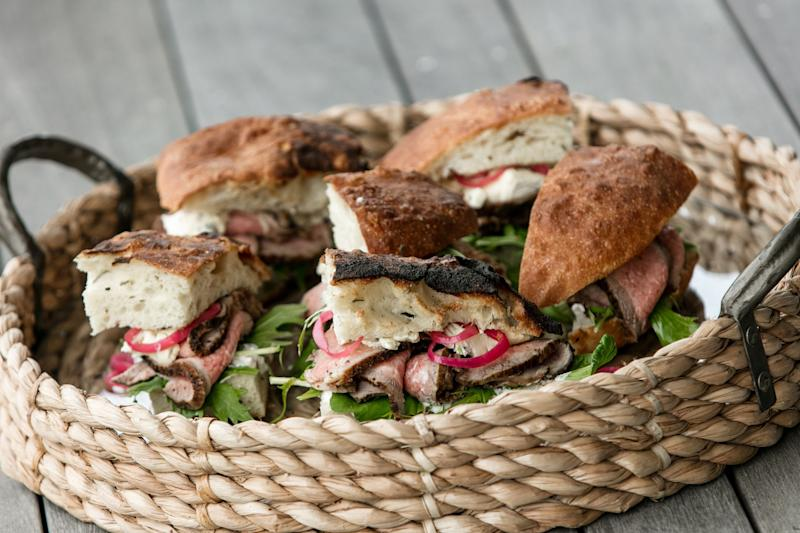 Roast Beef Sandwiches from Cru Oyster Bar Nantucket Cookbook: Savoring Four Seasons of the Good Life by Erin Zircher, Jane Stoddard, Carlos Hidalgo, and Martha W. Murphy
