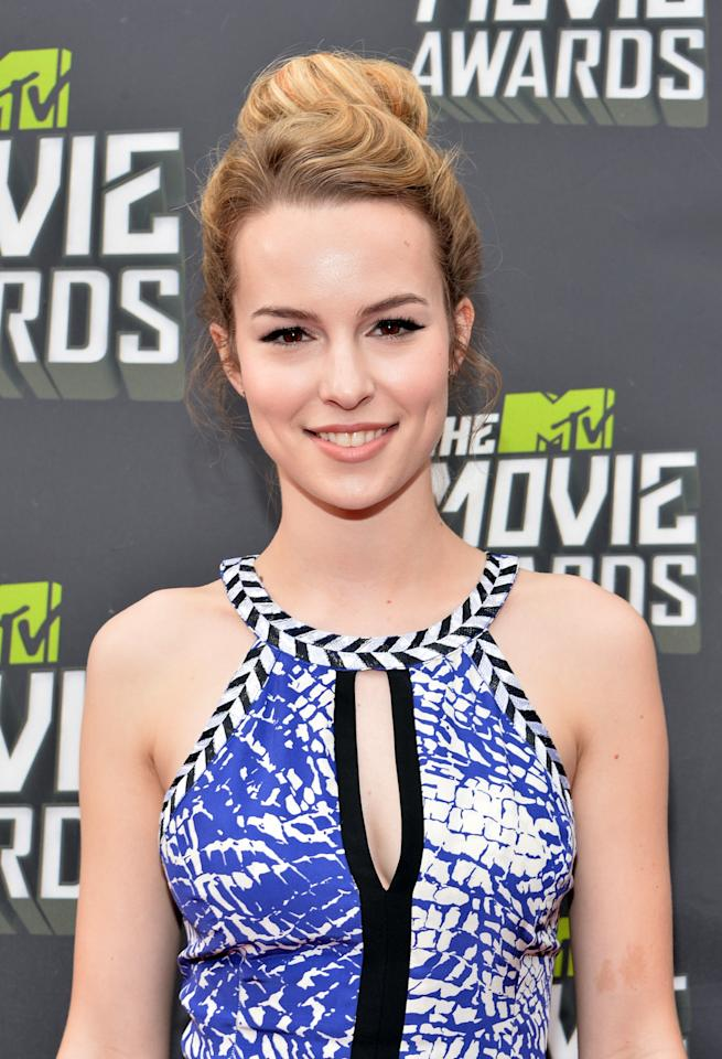 CULVER CITY, CA - APRIL 14:  Actress Bridgit Mendler arrives at the 2013 MTV Movie Awards at Sony Pictures Studios on April 14, 2013 in Culver City, California.  (Photo by Alberto E. Rodriguez/Getty Images)