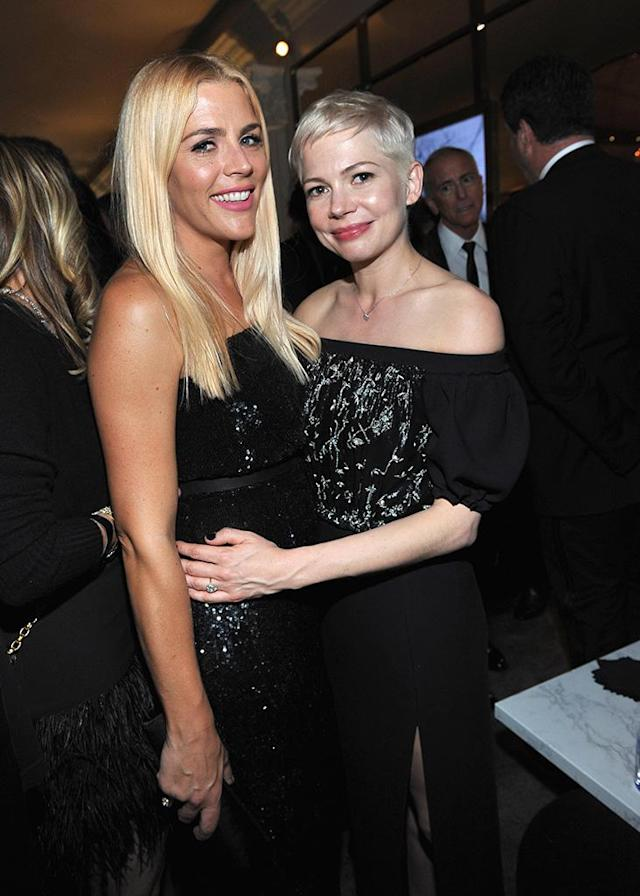 <p>Busy Philipps and bestie Michelle Williams attend the 2018 InStyle and Warner Bros. party. (Photo: Donato Sardella/Getty Images for InStyle ) </p>