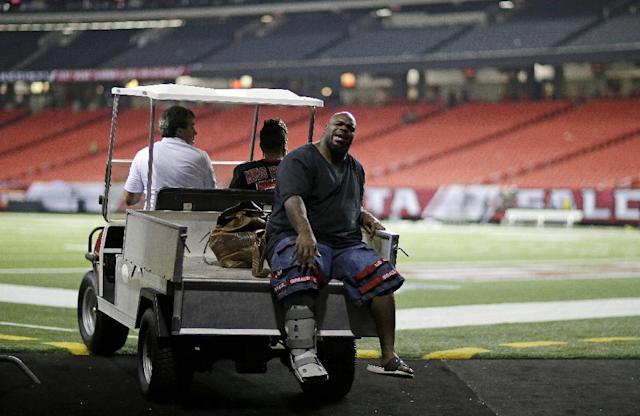 New England Patriots defensive tackle Vince Wilfork is transported out of the Georgia Dome after he was injured during the second half of an NFL football game against the Atlanta Falcons, Monday, Sept. 30, 2013, in Atlanta. The Patriots won 30-23. (AP Photo/David Goldman)