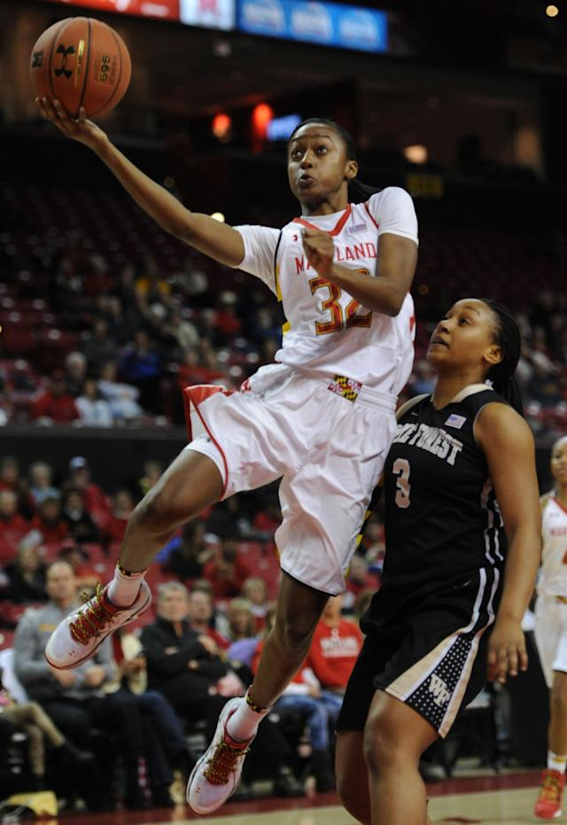 Maryland's Shatori Walker-Kimbrough (32) shoots against Wake Forest's Ataijah Taylor in the first half of an NCAA college basketball game on Thursday, Jan 9, 2014, in College Park, Md. (AP Photo/Gail Burton)