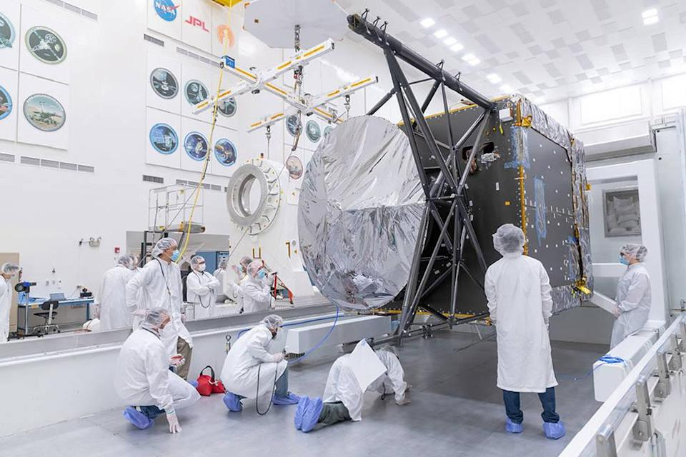 Engineers and technicians prepare to move the chassis of NASA's Psyche spacecraft from its shipping container to a dolly inside JPL's Spacecraft Assembly Facility just after the chassis was delivered by Maxar Technologies in late March of 2021.NASA/JPL-Caltech