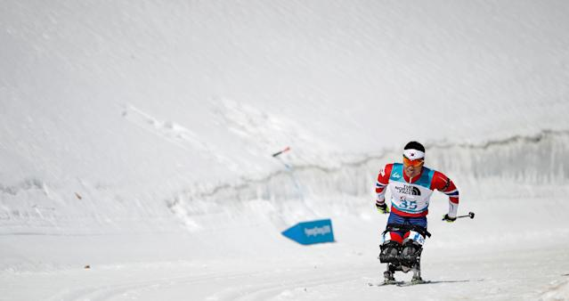 Biathlon - Pyeongchang 2018 Winter Paralympics - Men's 12.5km - Sitting - Alpensia Biathlon Centre - Pyeongchang, South Korea - March 13, 2018 - Sin Eui-hyun of South Korea. REUTERS/Carl Recine
