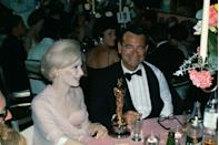 """<p>Walter Matthau was all smiles back at his table after winning Best Supporting Actor for <em><a href=""""https://www.amazon.com/Fortune-Cookie-Jack-Lemmon/dp/B01MTY4JPJ/ref=sr_1_1?s=instant-video&ie=UTF8&qid=1547579222&sr=1-1&keywords=The+Fortune+Cookie&tag=syn-yahoo-20&ascsubtag=%5Bartid%7C10055.g.5132%5Bsrc%7Cyahoo-us"""" rel=""""nofollow noopener"""" target=""""_blank"""" data-ylk=""""slk:The Fortune Cookie"""" class=""""link rapid-noclick-resp"""">The Fortune Cookie</a></em>. A strike by the American Federation of Television and Radio Artists<span class=""""redactor-invisible-space""""> nearly kept the whole show from happening, but a settlement was reached hours before the ceremony.</span></p>"""