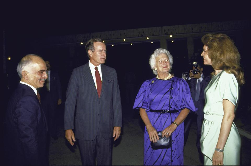 King Hussein ibn Talal and Queen Noor of Jordan chat with Vice President George H.W. Bush and Barbara Bush in the 1980s.