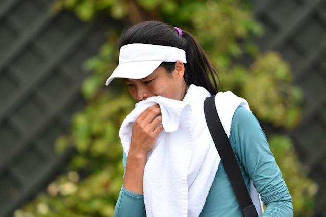 Taiwan's Hsieh Su-Wei leaves after taking part in a session on the practice courts at Wimbledon (AFP Photo/Glyn KIRK )