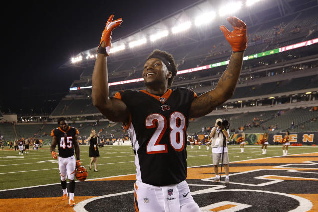 Cincinnati Bengals running back Joe Mixon celebrates after an NFL football game against the Baltimore Ravens, Thursday, Sept. 13, 2018, in Cincinnati. Bengals won 34-23. (AP Photo/Frank Victores)