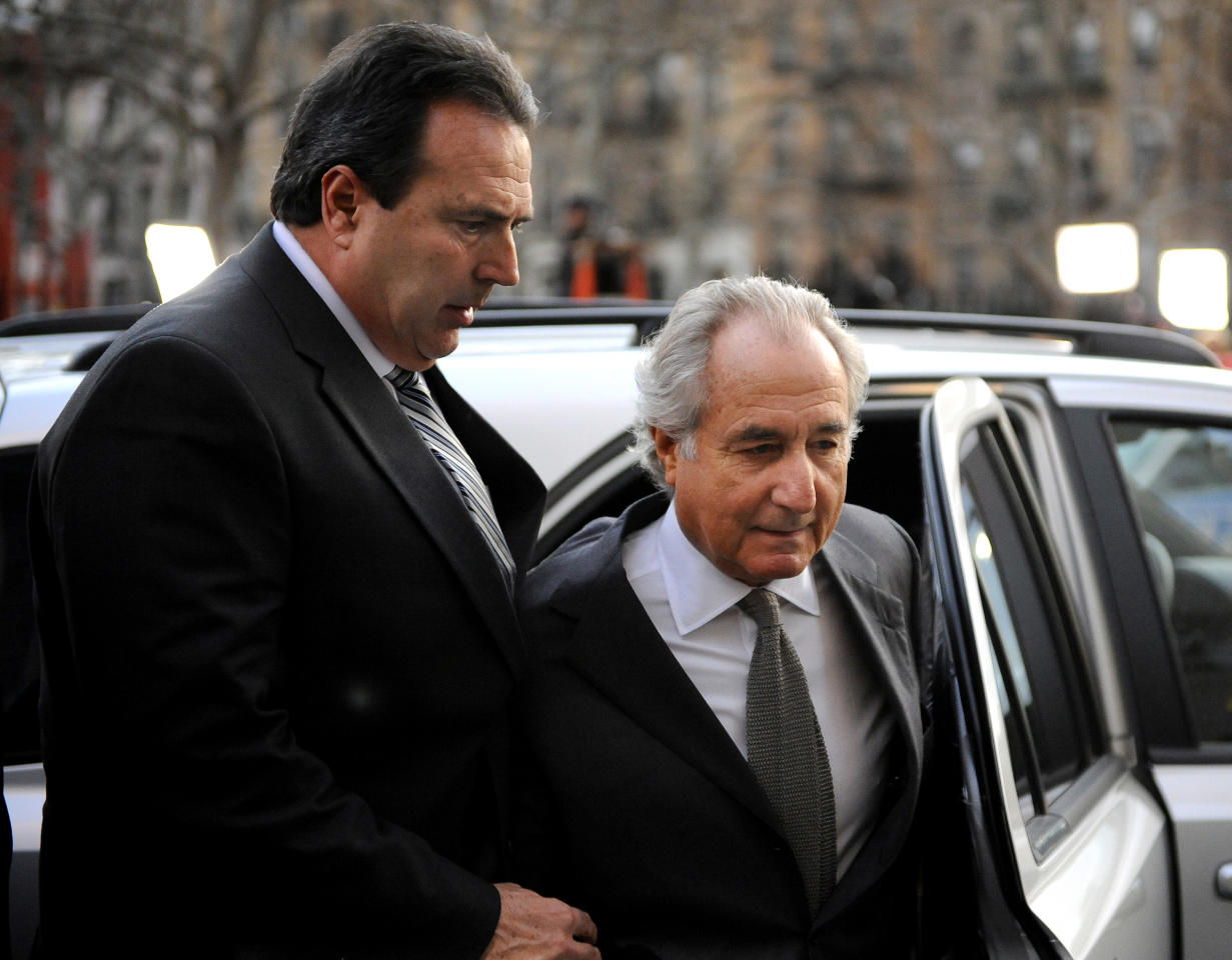 Bernard Madoff   Bernie Madoff is currently in prison at the Butner Federal Correction Complex in North Carolina. He was sentenced to 150 years in prison in 2009 for operating a $65 billion Ponzi scheme, the largest in American history through his firm, Bernard L. Madoff Investment Securities LLC. His convictions included charges of fraud, money laundering and perjury. Some of his victims started receiving money back in October 2011. Photo: Bernard Madoff arrives at Manhattan Federal court on March 12, 2009 in New York City.