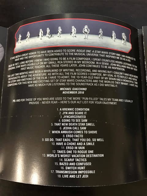 The 'Rogue One' soundtrack's sleeve notes. (Credit: Walt Disney Records)