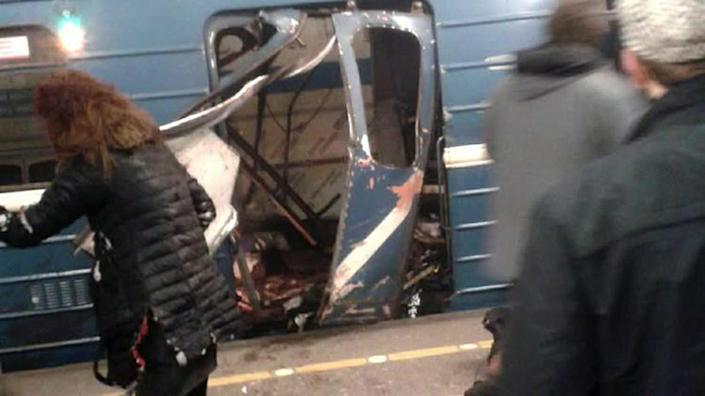 <p>Damage is shown to a metro rail car in St. Peteresburg, Russia, April 3, 2017. At least 10 people were killed Monday in an explosion on the subway in St. Petersburg, Russian news agencies reported. (Russian Look via ZUMA Wire) </p>