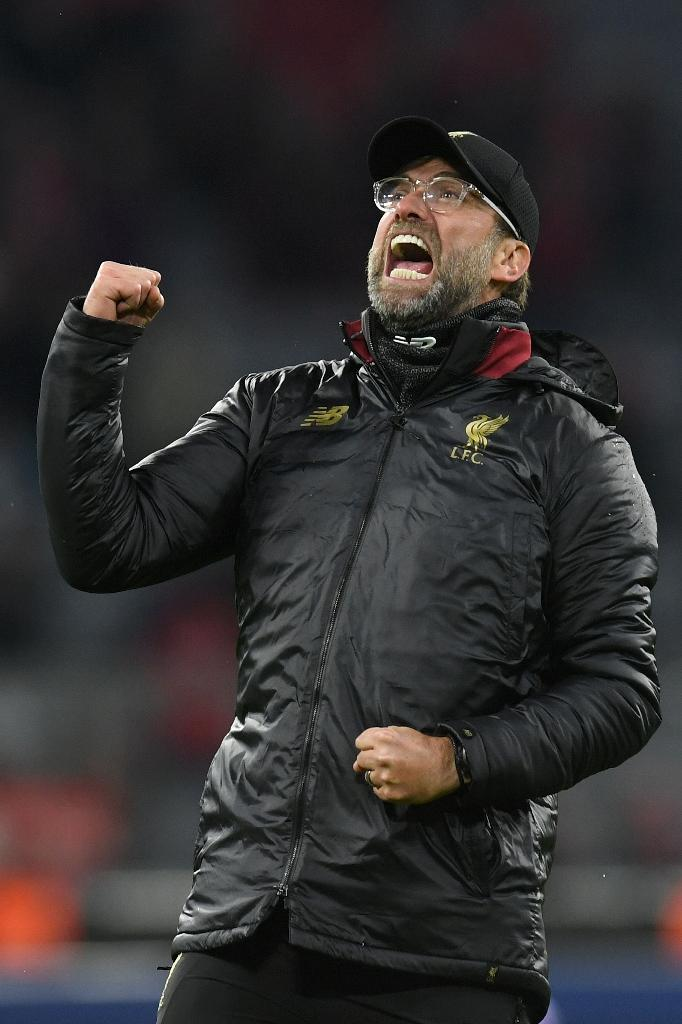 Liverpool's German manager Jurgen Klopp celebrates knocking Bayern Munich out of the Champions League on Wednesday with a 3-1 win at the Allianz Arena. (AFP Photo/Christof STACHE )