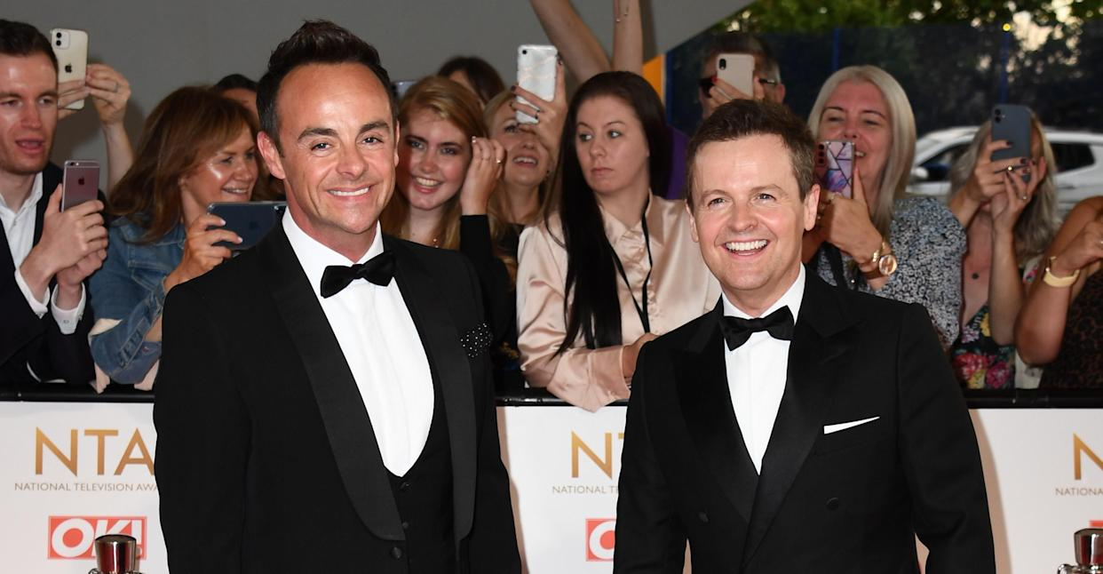 Ant and Dec on the red carpet at the National Television Awards 2021. (Getty Images)