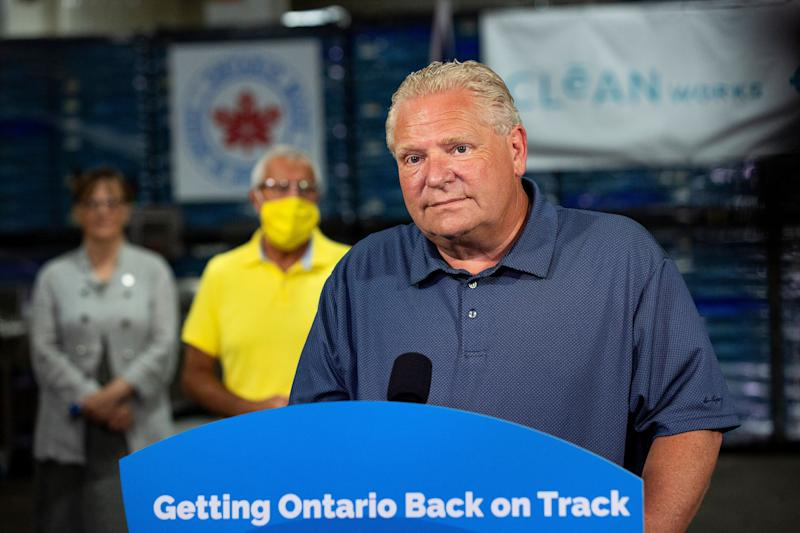 Ontario Premier Doug Ford makes an announcement in Beamsville, Ont., on Aug. 4, 2020. (Photo: Tara Walton/The Canadian Press)