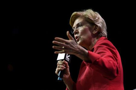 FILE PHOTO - U.S. Senator Elizabeth Warren speaks about her policy ideas with Anand Giridharadas at the South by Southwest (SXSW) conference and festivals in Austin, Texas, U.S., March 9, 2019. REUTERS/Sergio Flores