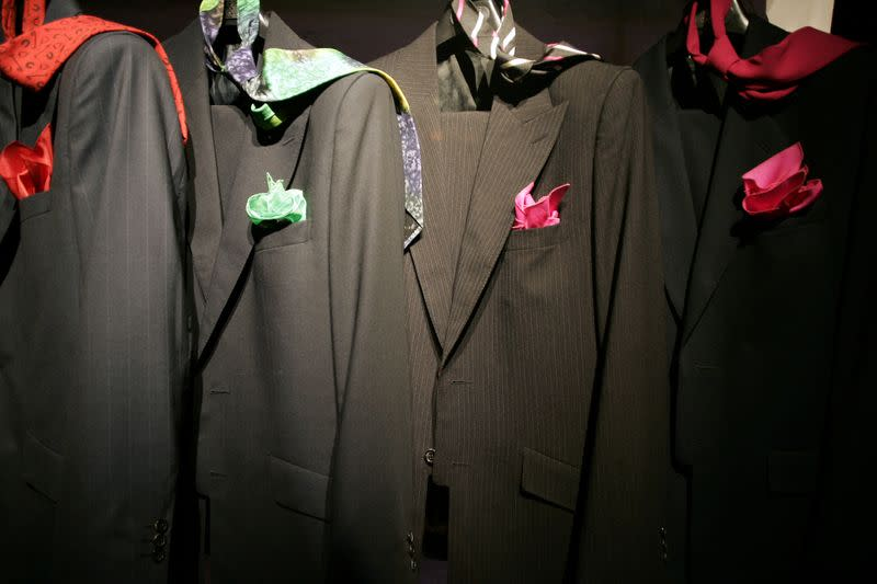 FILE PHOTO: Suit creations by French designer Pierre Cardin are presented as part of his men's Spring/Summer 2007 fashion collection in Paris